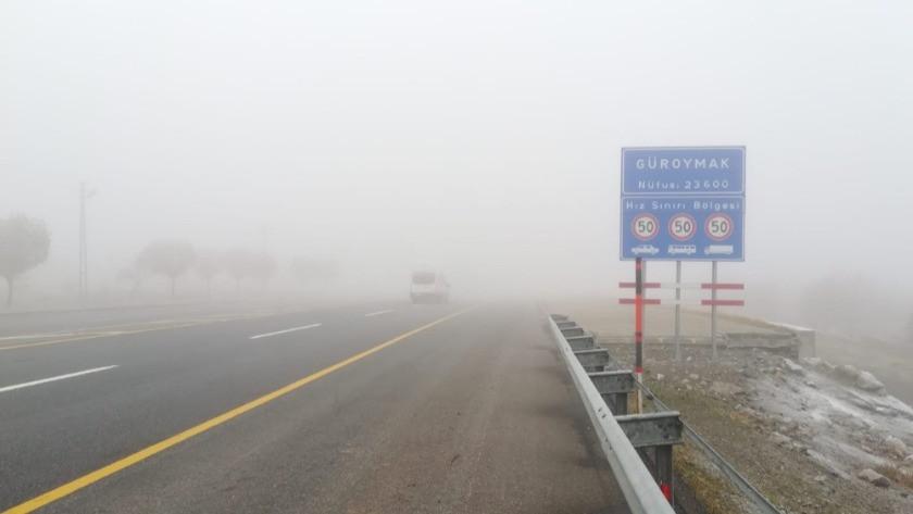 Güroymak'ta yoğun sis hayatı olumsuz etkiledi