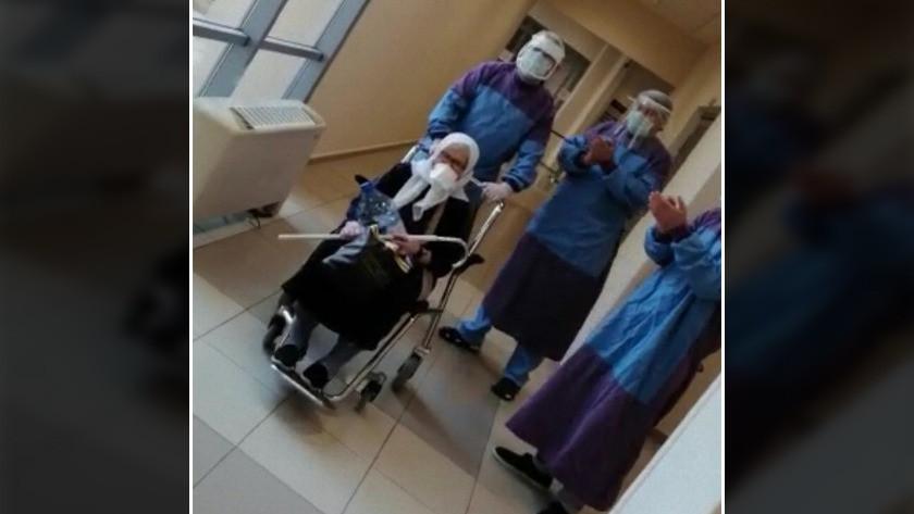 75 yaşındaki kadın koronavirüsü yenerek taburcu oldu