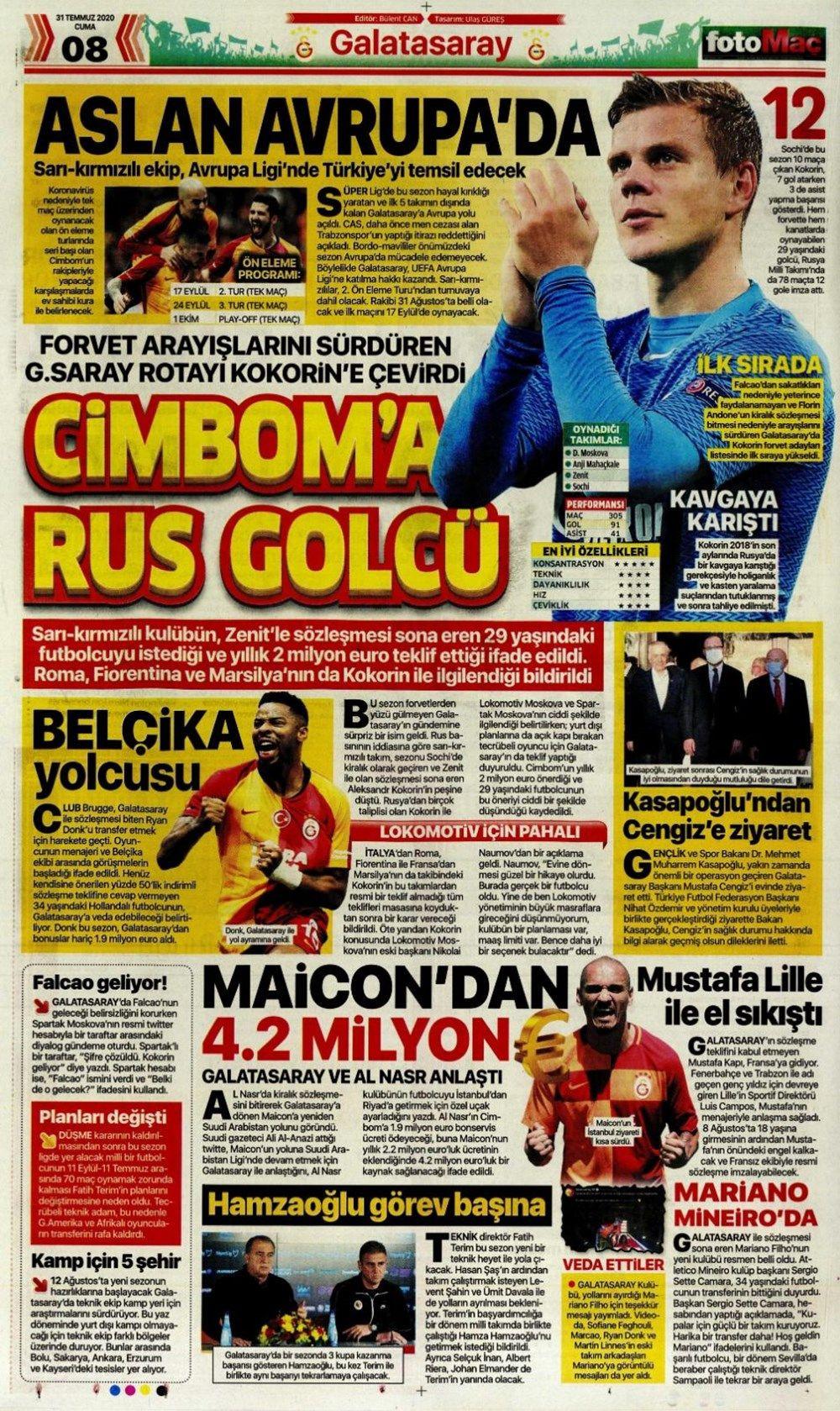 31 Temmuz günün spor manşetleri ! - Sayfa 1