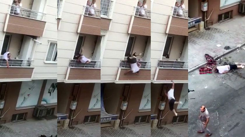 Kavga ettiği adama balkondan tencere atarken balkondan aşağıya düştü! İşte oanlar! video izle - Sayfa 1
