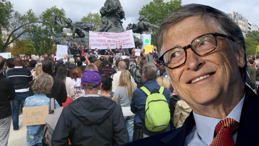 Fransa'da 'maske' protestosunda hedef Bill Gates