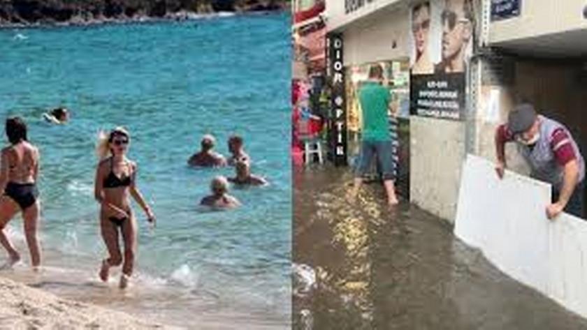 İzmir selle boğuşuyorken Antalya denizin keyfini çıkardı