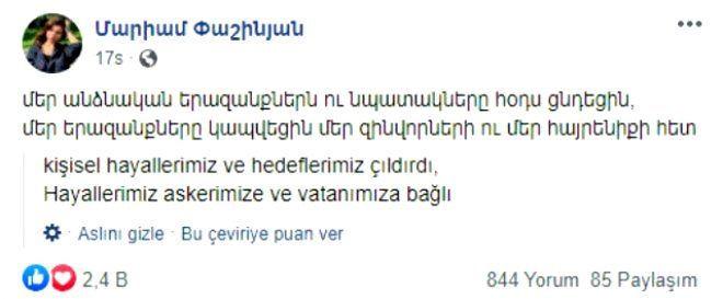 Paşinyan'ın kızından Ermenileri kızdıracak paylaşım! - Sayfa 4