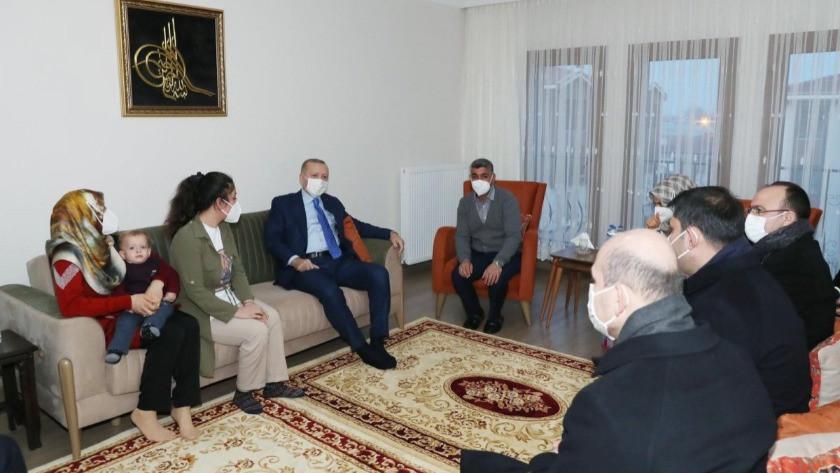Erdoğan'dan Elazığ'da ev ziyareti