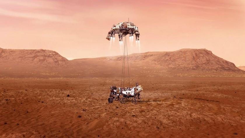 NASA'nın uzay aracı Perseverance, Mars'a böyle indi! İşte ilk fotoğraf