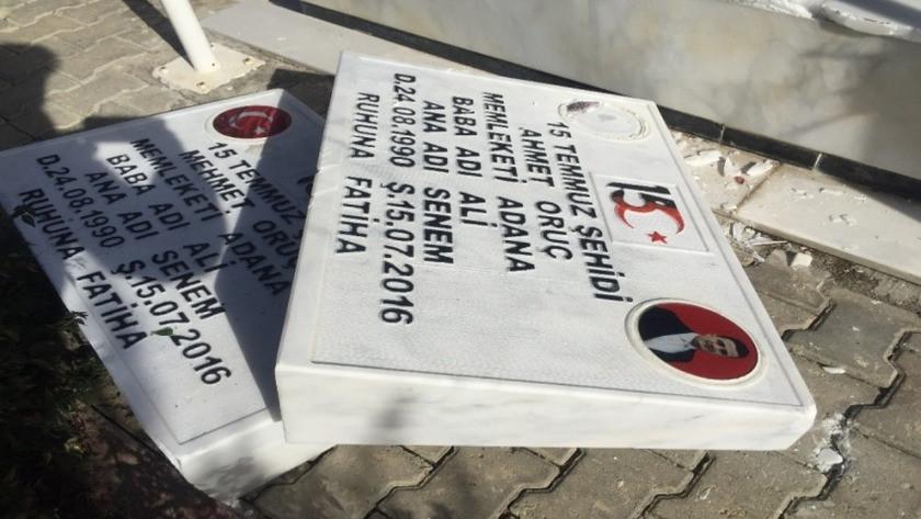 Adana'da 15 Temmuz şehidi ikiz polislerin mezarlarına saldırı