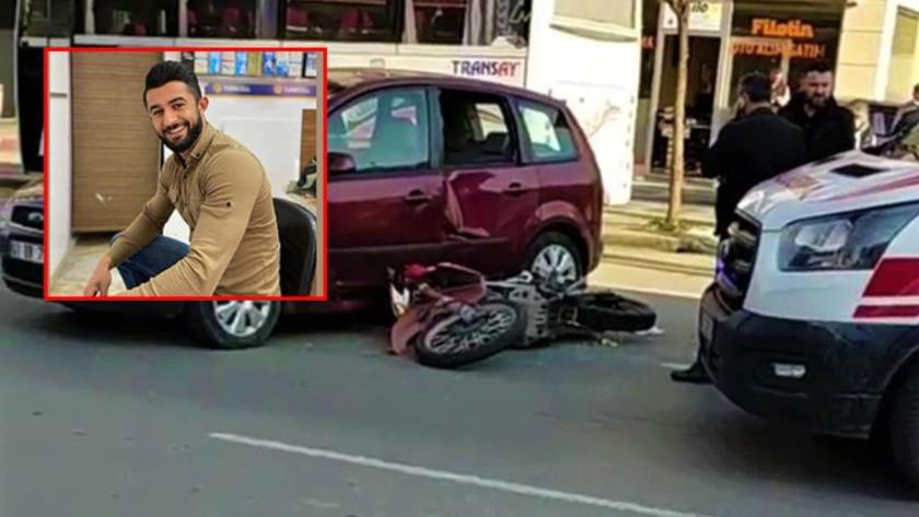 Otomobile çarpmamak için manevra yapan motosikletli böyle savruldu