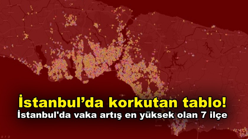 İstanbul'da vaka artış ortalaması en yüksek olan 7 ilçe