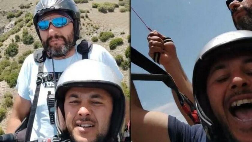 Tarlasına paraşütçü inen çiftçi, bu defa kendisi uçtu!