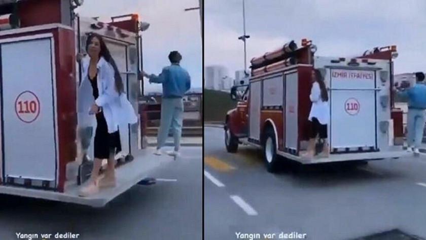İzmir'de itfaiye aracı kullanan kadınların skandal görüntüsü!