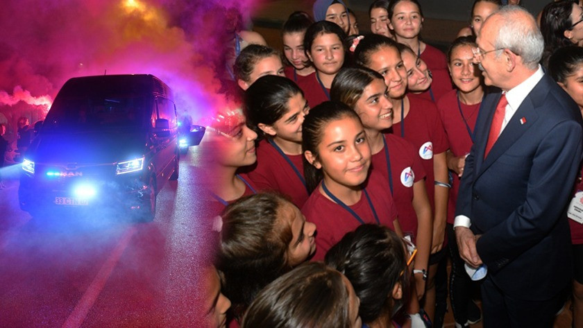 CHP Genel Başkanı Kemal Kılıçdaroğlu Mersin'de meşalelerle karşılandı!