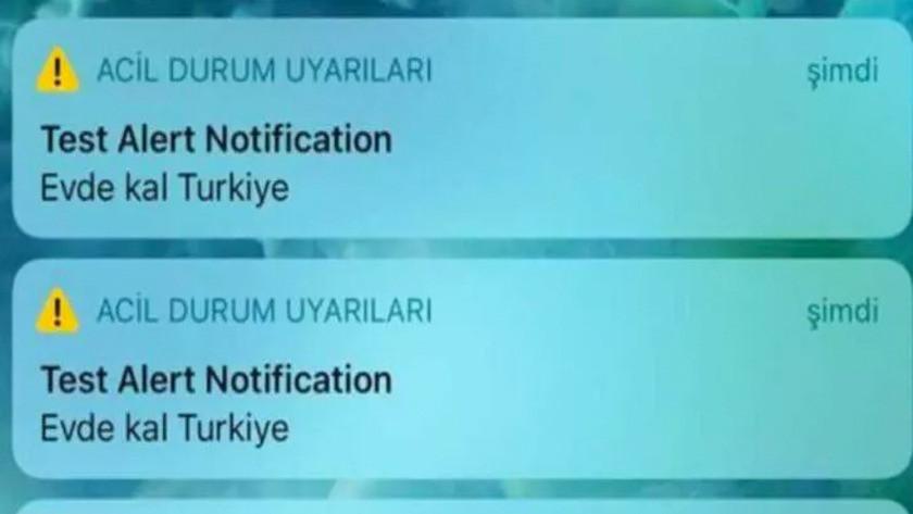 iPhone kullanıcılarına Test Alert Natification Evde kal Türkiye mesajı