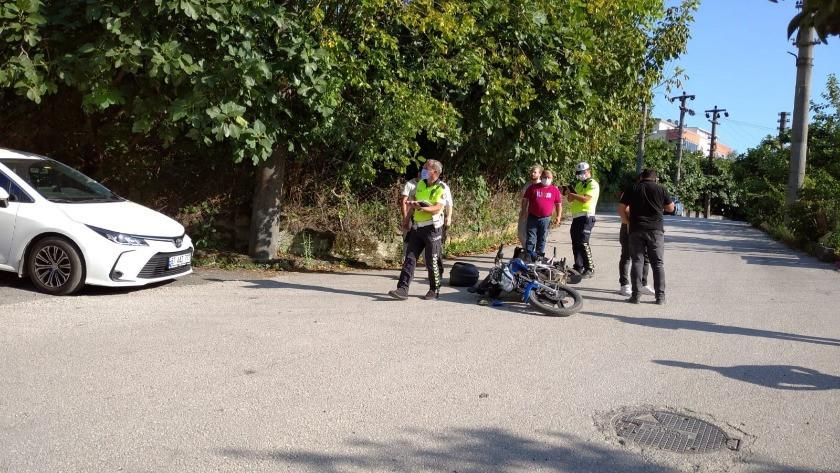 Zonguldak'ta kaza! Otomobil ile motosiklet çarpıştı!