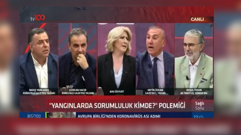 Gazeteciler Yarkadaş ve Özkan arasında canlı yayında yangın tartışması