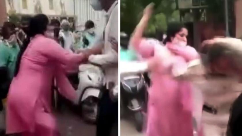 Maske takmayan iki kadın ceza yazmak isteyen görevliyi fena dövdü