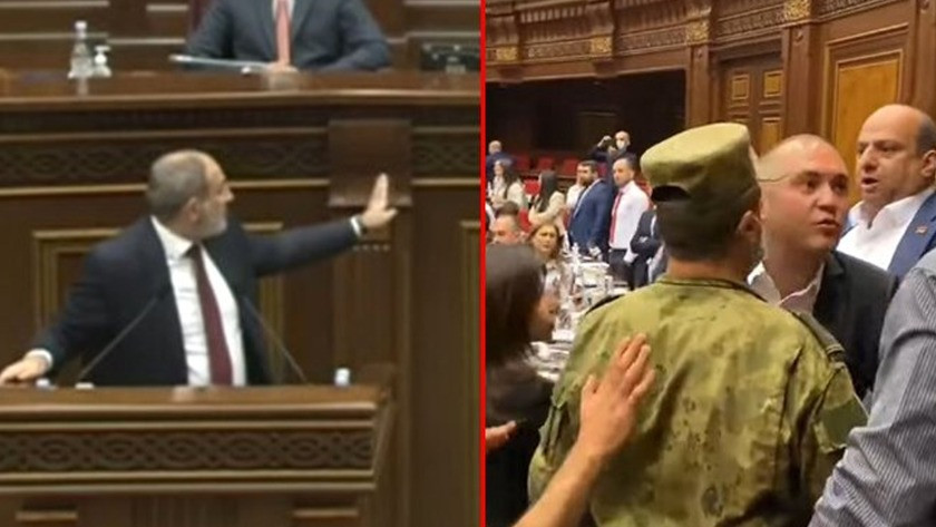 Ermenistan parlamentosunda Paşinyan konuştuğu sırada kavga çıktı!