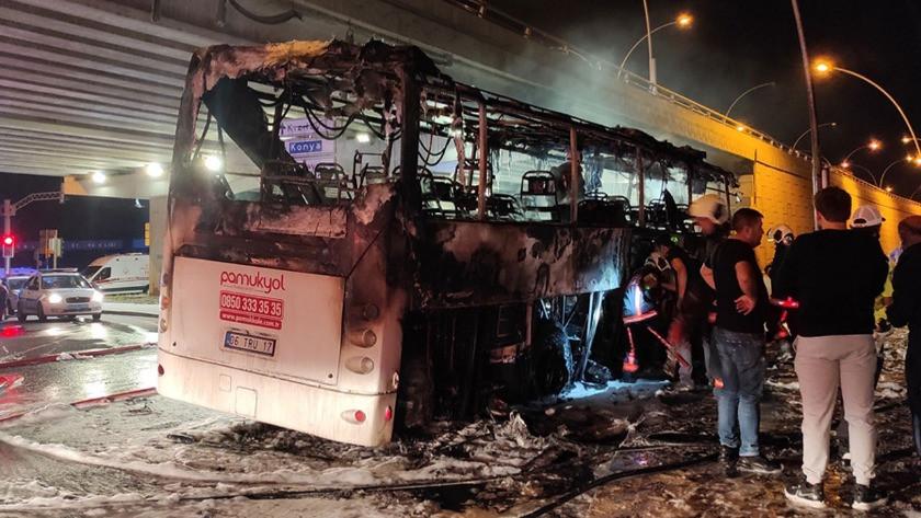 Ankara'da feci kaza! Yolcu otobüsü cayır cayır yandı!