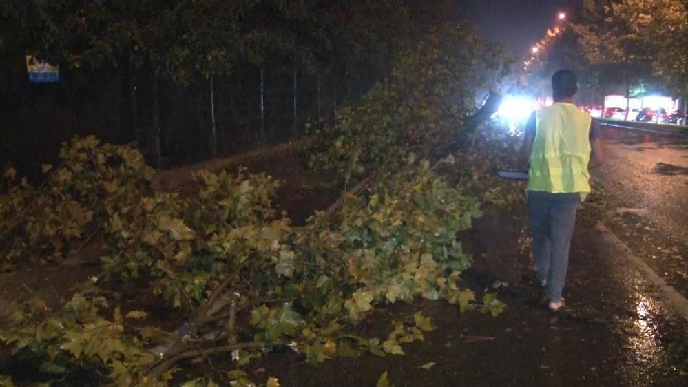 İstanbul'u fırtına ve yağmur fena vurdu! Ağaçlar gövdesinden kırılarak yola devrildi - Sayfa 2