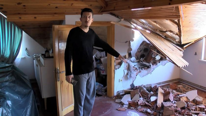 Fırtına'dan  uçan baca karşı binanın çatı katının duvarını yıktı