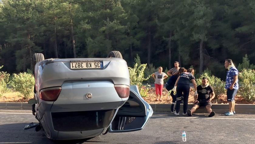 Takla atan araçta 2 kişi yaralandı