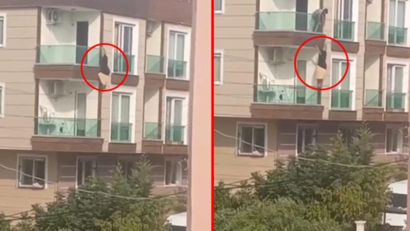 Çığlık çığlığa balkona çıkıp korkuluklardan sarkan kadın aşağıya düştü
