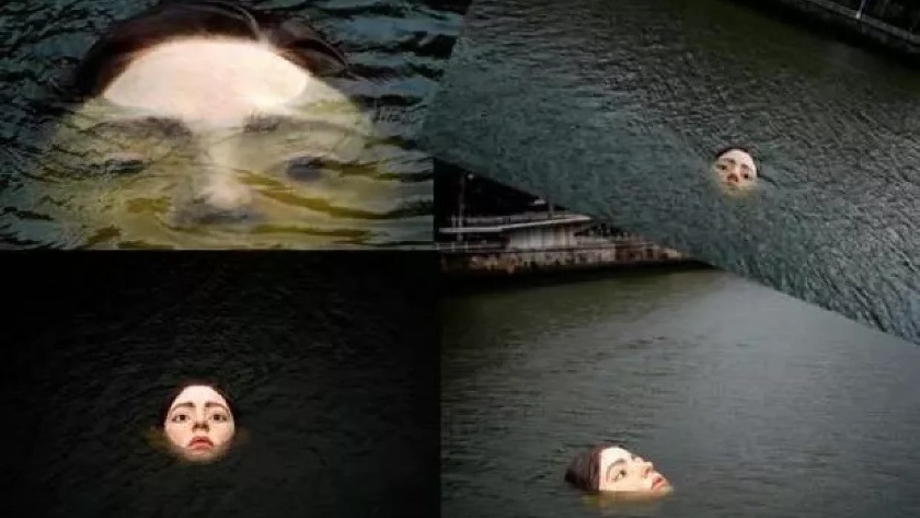 Nehrin ortasındaki genç kız vatandaşları fena korkuttu!