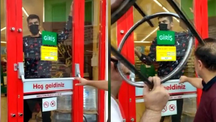 Markete kilitlenen hırsız camı kırarak böyle kaçtı! O anlar kamerada