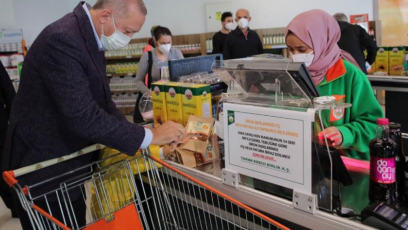 Cumhurbaşkanı Erdoğan market alışverişine bakın kaç lira ödedi