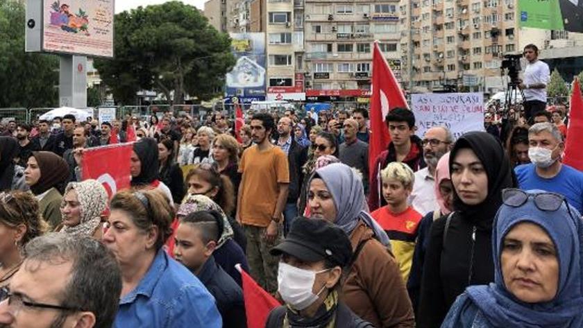 İzmir'de 'aşı karşıtlarından' tepki çeken eylem!
